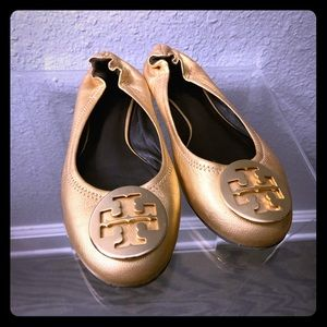 Tory Burch Ballet Flat, Gold Metallic Leather